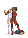 Daughters Of The Dragon 1 Cover: Night, Misty, Wing, Colleen and NightWing Restorations Fighting Print by Khari Evans