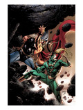 Thor No.84 Cover: Thor and Loki Fighting and Flying Posters by Epting Steve