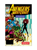 Avengers West Coast 47 Cover: Scarlet Witch, Captain America and She-Hulk Affiches par Byrne John