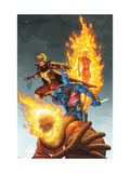 Avengers 83 Cover: Union Jack, Blazing Skull, Spitfire, Human Torch and Invaders Prints by Kolins Scott