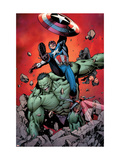Ultimate Avengers 4 Cover: Captain America, Hulk, Red Wasp and Black Widow Poster by Carlos Pacheco