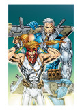 X-Force: Shatterstar 3 Cover: Shatterstar and Cable Jumping Posters by Mychaels Marat