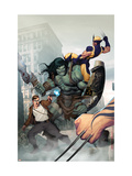 Incredible Hulk #603 Cover: Skaar, Wolverine, Banner and Bruce Posters af Ariel Olivetti