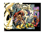 Avengers Thunderbolts 5 Group: Atlas, Moonstone, Hawkeye, Songbird, Thunderbolts and Avengers Poster by Tom Grummett