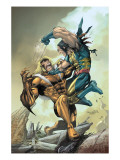 X-Men 164 Cover: Wolverine and Sabretooth Poster by Salvador Larroca