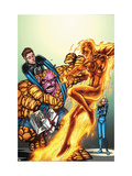 Marvel Adventures Fantastic Four No.44 Cover: Human Torch and Mr. Fantastic Print by Tom Grummett