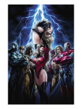 Ms. Marvel 44 Cover: Ms. Marvel, Spider-Man, Iron Patriot, Wolverine, Ares, Hawkeye and Sentry Print by Takeda Sana