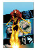 X-Men: Phoenix - Endsong No.2 Cover: Phoenix, Beast, Emma Frost, Cyclops and Wolverine Prints by Land Greg