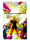 Infinity Gauntlet 6 Group: Adam Warlock, Thanos, Thor and Hulk Fighting Art by George Perez