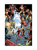 Iron Man And Power Pack No.3 Group: Zero-G, Lightspeed and Iron Man Print by Marcelo Dichiara