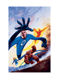 Marvel Double-Shot 3 Cover: Mr. Fantastic, Invisible Woman, Human Torch and Thing Swimming Prints by Joe Jusko