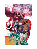 Avengers: Earths Mightest Heroes No.8 Cover: Quicksilver, Captain America and Scarlet Witch Print by Kolins Scott