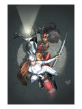 Daughters Of The Dragon 3 Cover: Misty Knight, Wing and Colleen Charging Print by Khari Evans