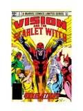 Vision And The Scarlet Witch 4 Cover: Magneto, Vision, Scarlet Witch, Quicksilver and Crystal Print by Rick Leonardi