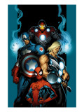 Ultimate Spider-Man 70 Cover: Spider-Man, Thor, Captain America, Iron Man and Ultimates Print by Mark Bagley