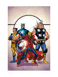 Marvel Adventures The Avengers 39 Cover: Spider-Man, Thor, Wolverine and Captain America Prints by Casey Jones