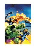 Marvel Adventures Fantastic Four No.47 Cover: Hulk, Invisible Woman, Mr. Fantastic and Human Torch Print by Jon Buran
