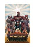 Avengers: The Initiative No.26 Cover: Iron Patriot, Task Master and The Hood Fighting Prints by Matteo De Longis