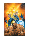 Fantastic Four 553 Cover: Thing, Mr. Fantastic, Invisible Woman and Human Torch Crouching Posters by Michael Turner