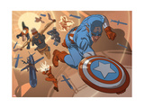 New Invaders No.8 Group: Captain America, Union Jack, Human Torch, Blazing Skull and U.S. Agent Prints by Smith C.P.
