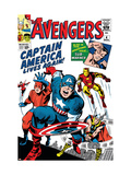 Les Avengers, comics classique de Marvel, no 4 :  Captain America, Iron Man, Thor, Giant Man et Wasp Affiches par Jack Kirby