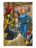 X-Men: First Class 1 Group: Marvel Girl, Angel, Xavier, Charles and Invisible Woman Fighting Art by Roger Cruz
