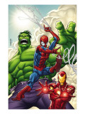 Marvel Adventures Super Heroes 1 Cover: Spider-Man, Iron Man and Hulk Prints by Roger Cruz