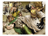 Assault on New Olympus Prologue 1 Group: Hercules, Zeus, Amatsu-Mikaboshi, Ares and Phobos Prints by Rodney Buchemi