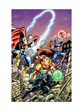 Avengers No.21 Cover: Captain America, Thor, Iron Man, Black Panther and Avengers Prints by George Perez
