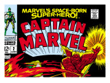 Captain Marvel 2 Cover: Super Skrull and Captain Marvel Swinging Print by Gene Colan