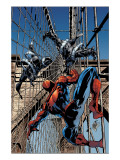 Amazing Spider-Man No.512 Cover: Spider-Man and Stacy Twins Fighting and Flying Posters by Mike Deodato Jr.