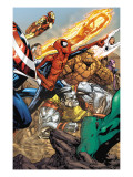 Spider-Man & The Secret Wars 3 Group: Spider-Man, Colossus, Thing, Iron Man and Human Torch Prints by Patrick Scherberger