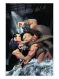 Punisher War Journal 15 Cover: Punisher and Kraven The Hunter Swinging Posters by Ariel Olivetti