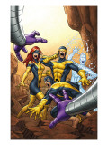 X-Men: First Class 13 Cover: Cyclops, Marvel Girl, Iceman and Beast Print by Roger Cruz