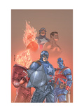 The New Invaders 1 Cover: Captain America, Union Jack, Blazing Skull and Invaders Print by Kolins Scott