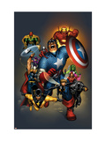 The Official Handbook Of The Marvel Universe: Avengers 2004 Cover: Captain America Kunstdrucke von Salvador Larroca