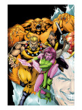 Exiles 60 Cover: Sabretooth, Blink, Sasquatch and Beak Posters par Calafiore James