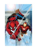 Invincible Iron Man 7 Cover: Iron Man and Spider-Man Kunstdrucke von Salvador Larroca