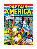 Captain America Comics 1 Cover: Captain America, Hitler and Adolf Art par Jack Kirby