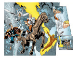 Alpha Flight No.8 Group: Major Mapleleaf, Storm, Thor and Human Torch Print by Ross Dave