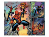 Spider-Man Family 1 Cover: Spider-Girl, Spider-Man, Arana and Spider Woman Fighting Art by Ron Lim