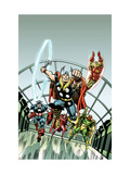 Giant-Size Marvel TPB Cover: Thor, Captain America, Iron Man, Vision and Scarlet Witch Charging Posters by Buckler Rich