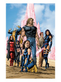 New Exiles 1 Group: Sabretooth, Psylocke and Cat Crouching Print by Tom Grummett