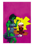 Howard The Duck 3 Cover: She-Hulk and Howard The Duck Fighting Print by Juan Bobillo