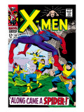 X-Men 35 Cover: Spider-Man, Beast, Cyclops, Marvel Girl, Iceman and Angel Jumping Art