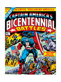 Captain America Bicentennial Battles Cover: Captain America Charging Posters by Jack Kirby
