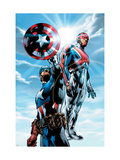 The Ultimates 4 Cover: Captain America and Captain Britain Charging Prints by Bryan Hitch