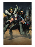 Cable 7 Group: Wolverine, X-23, Warpath and Wolfsbane Print by Ariel Olivetti