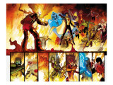The Order 1 Group: Anthem, Heavy, Calamity, Pierce, Avona, Maul, Corona and Infernal Man Fighting Prints by Kitson Barry