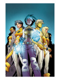 New X-Men No.1 Cover: Ashido, Noriko, Wind Dancer, Prodigy and New X-Men Fighting Prints by Green Randy